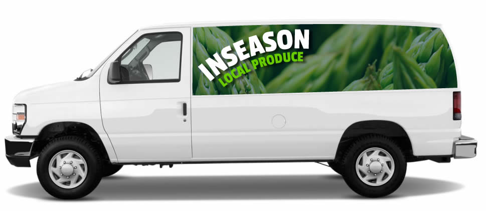 In Season delivery van, delivering produce and supplies for home canning.